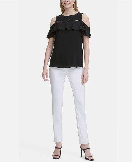 219619b629e8b3 Calvin Klein Cold-Shoulder Beaded-Trim Top & Reviews - Tops - Women ...