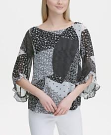 Calvin Klein Printed Ruffle-Trim 3/4-Sleeve Top