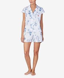 Notch Collar Cotton Knit Pajama Set
