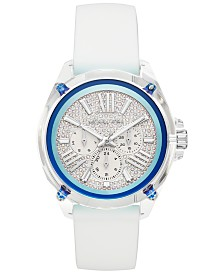 Michael Kors Women's Wren White Silicone Strap Watch 42mm