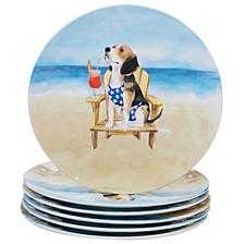 Hot Dogs Melamine 6-Pc. Dinner Plate Set