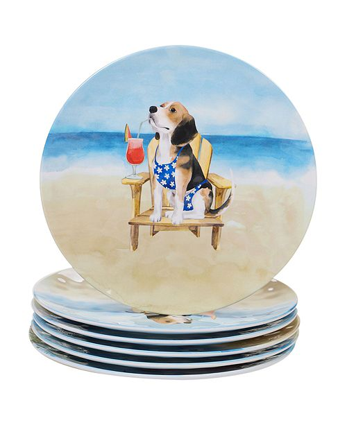 Certified International Hot Dogs Melamine 6-Pc. Dinner Plate Set