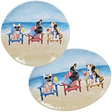 Hot Dogs Melamine 2-Pc. Platter Set - Round and Oval