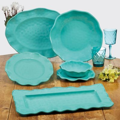 Perlette Teal Melamine 2-Pc. Platter Set - Rectangular and Oval