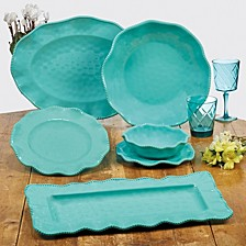 Perlette Teal Melamine Dinnerware Collection