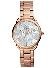 Fossil Women's Tailor Rose Gold-Tone Stainless Steel Bracelet Watch 35mm