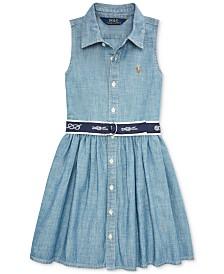Polo Ralph Lauren Little Girls Belted Chambray Shirtdress