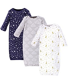 Hudson Baby Cotton Gowns, 3 Pack, 0-6 Months