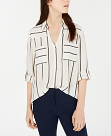 BCX Juniors' Striped Button-Front Blouse