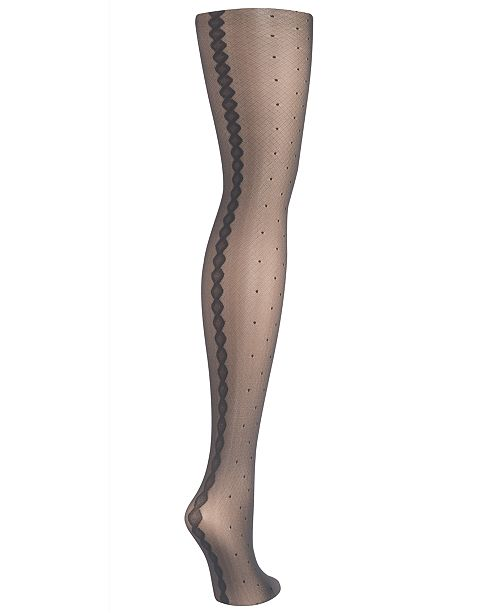 Hanes Sheer Dot Diamond Back Tights