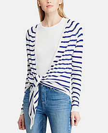 Lauren Ralph Lauren Open-Front Striped Sweater