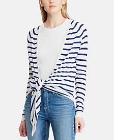 Lauren Ralph Lauren Open-Front Striped Sweater