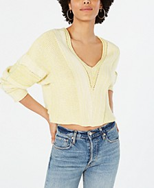 Lemonade Stand Cropped Mixed-Knit Sweater