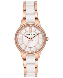 Women's White Ceramic & Rose Gold-Tone Bracelet Watch 32mm