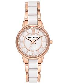 Women's White Ceramic & Rose Gold-Tone Bracelet Watch 32mm