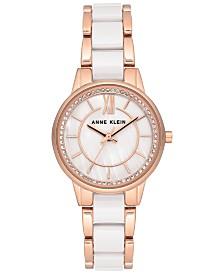 Anne Klein Women's White Ceramic & Rose Gold-Tone Bracelet Watch 32mm