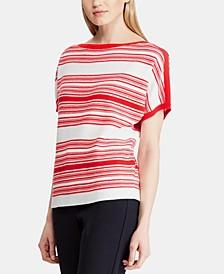 Striped Dolman-Sleeve Sweater
