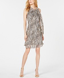 Petite Animal-Print Chiffon Dress