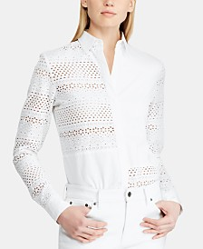 Lauren Ralph Lauren Eyelet Cotton Shirt