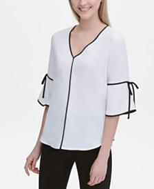 Calvin Klein Contrast-Trim Elbow-Sleeve Top