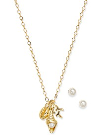 Charter Club Gold-Tone Imitation Pearl Stud Earrings & Sea Life Pendant Necklace Set, Created for Macy's