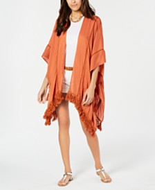 I.N.C. Fringe-Hem Lace-Trim Topper, Created for Macy's