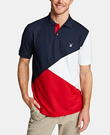 Men's Blue Sail Classic Fit Moisture-Wicking Diagonal Colorblock Polo, Created for Macy's