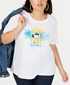 Love Tribe Trendy Plus Size Snoopy Graphic-Print T-Shirt
