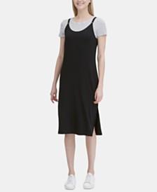 Calvin Klein Striped T-Shirt Midi Dress
