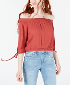 Polly & Esther Juniors' Off-The-Shoulder Tie-Sleeve Crop Top