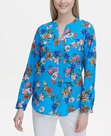 Calvin Klein Floral-Print Collarless Shirt