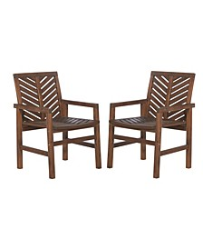 Patio Wood Chairs, Set Of 2