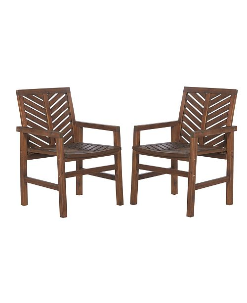 Walker Edison Patio Wood Chairs, Set Of 2