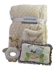 3 Piece Plush Blanket Baby Gift Set