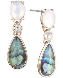 Anne Klein Gold-Tone Crystal & Stone Drop Earrings
