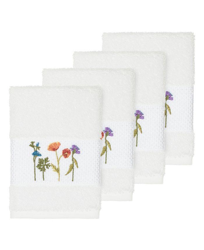 Linum Home - Turkish Cotton Serenity 4-Pc. Embellished Washcloth Set