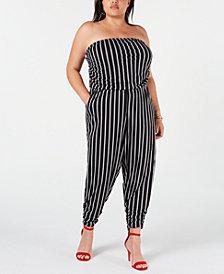 Almost Famous Trendy Plus Size Strapless Jumpsuit
