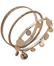 Anne Klein Gold-Tone 3-Pc. Set Pavé Disc & Textured Bangle Bracelets, Created for Macy's