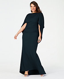 Betsy & Adam Plus Size Capelet Gown