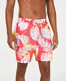 "Club Room Men's Quick-Dry Watercolor Palm-Print 7"" Twill Swim Trunks, Created for Macy's"