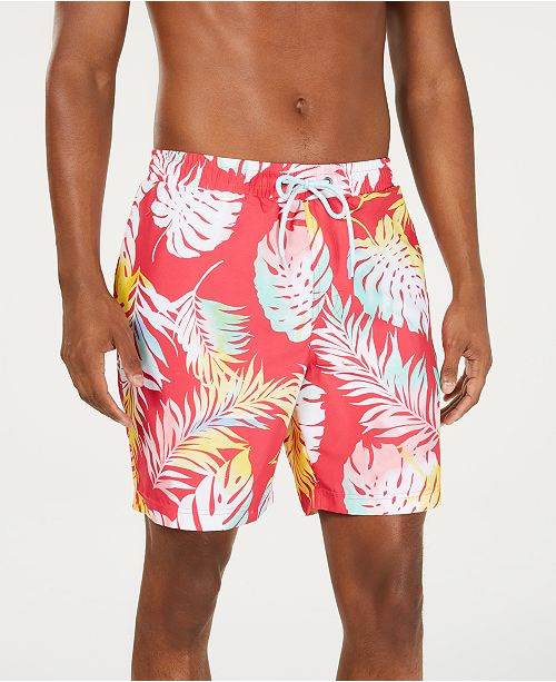 """Club Room Men's Quick-Dry Watercolor Palm-Print 7"""" Twill Swim Trunks, Created for Macy's"""