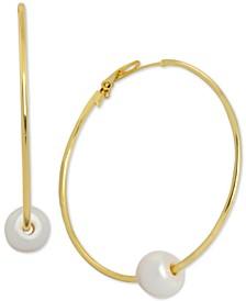 Freshwater Pearl (9-1/2mm) Hoop Earrings in Gold-Plate