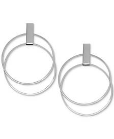 Essentials Double Circle Drop Earrings in Fine Silver-Plate