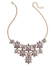 "Charter Club Gold-Tone Crystal Statement Necklace, 17"" + 2"" extender, Created for Macy's"