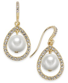 Charter Club Gold-Tone Imitation Pearl Orbital Teardrop Earrings, Created for Macy's