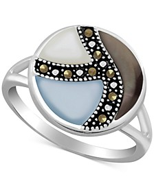Multicolor Shell & Marcasite Statement Ring in Fine Silver-Plate