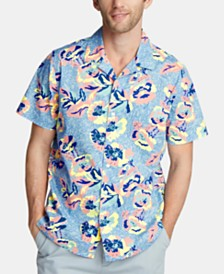 Nautica Men's Blue Sail-Print Camp Collar Shirt, Created for Macy's