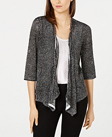 Printed Open-Front Draped Cardigan, Created for Macy's