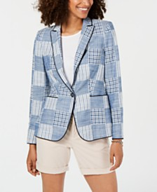Tommy Hilfiger Patchwork Plaid Cotton Blazer, Created for Macy's