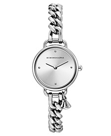 Ladies Round Stainless Steel Chain Bracelet with Crystal Charm Watch, 26mm